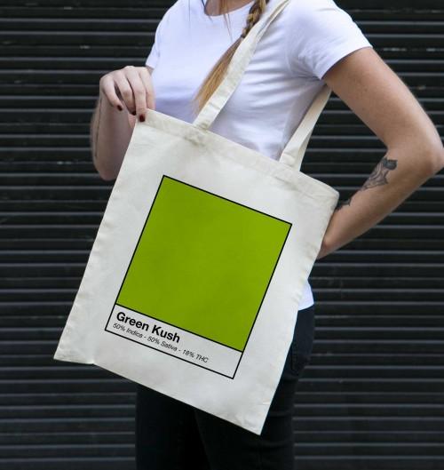 Tote Bag Green Kush de couleur Crème