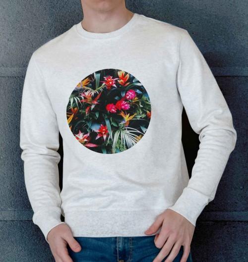 Sweat pour Homme Fleurs Tropicales de couleur Beige chiné
