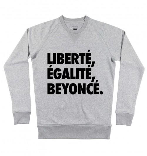 Sweat pour Homme Liberté, Egalité, Beyoncé de couleur Gris chiné
