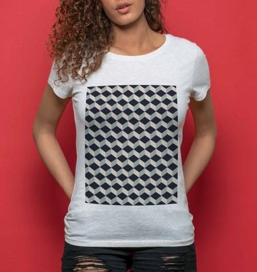 T-shirt pour Femme Femme Cube 3D de couleur Beige chiné