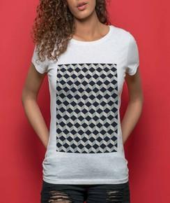 T-shirt à col rond Femme Cube 3D