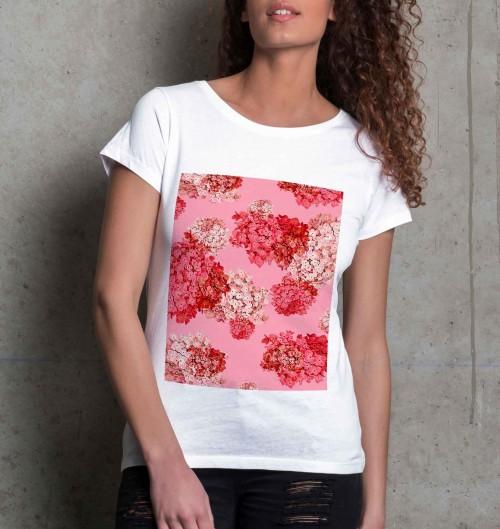 T-shirt pour Femme Femme Fleurs Roses de couleur Blanc