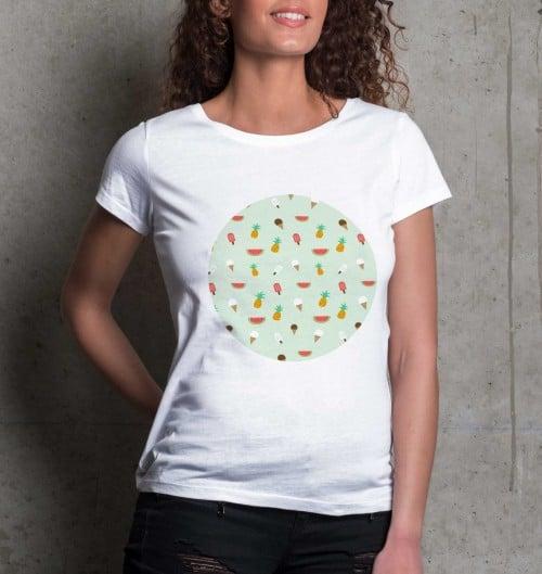 T-shirt pour Femme Femme Summer Pattern de couleur Blanc
