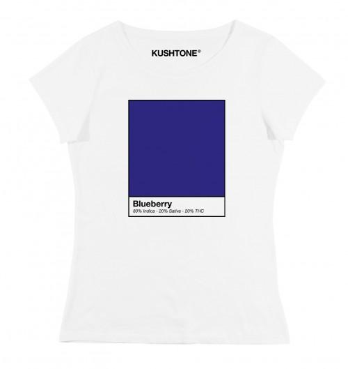 T-shirt pour Femme Femme Blueberry de couleur Blanc