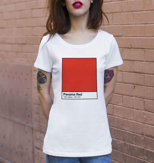 T-shirt pour Femme Femme Panama Red de couleur Blanc