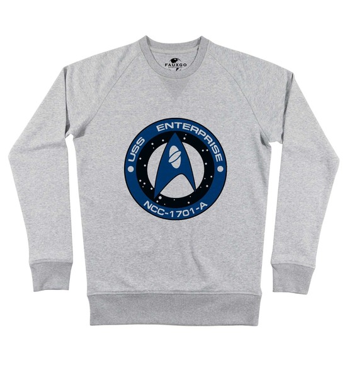 Sweat pour Homme Logo Scientifiques Starfleet de couleur Gris chiné
