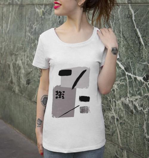 T-shirt pour Femme Femme Note de Musique de couleur Beige chiné