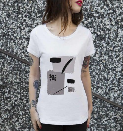 T-shirt pour Femme Femme Note de Musique de couleur Blanc
