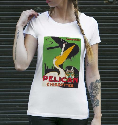 T-shirt pour Femme Femme Pélican Cigarettes de couleur Blanc
