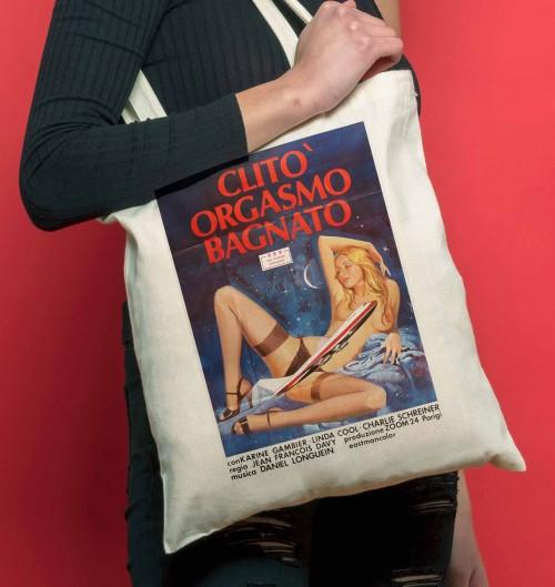 Tote Bag Clito Orgasmo Bagnato de couleur Crème