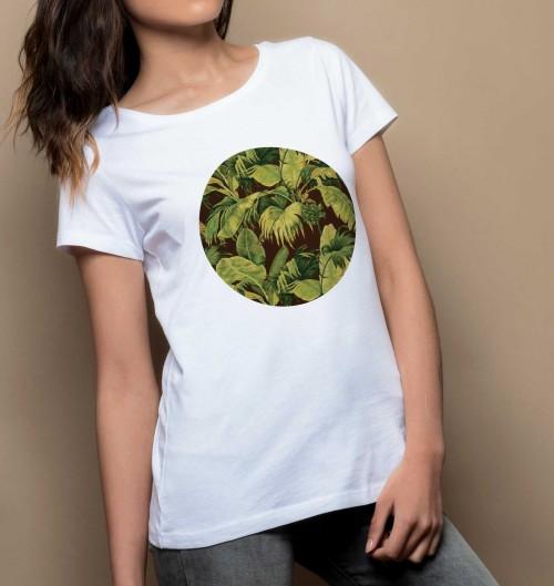 T-shirt pour Femme Femme Feuillage de couleur Blanc