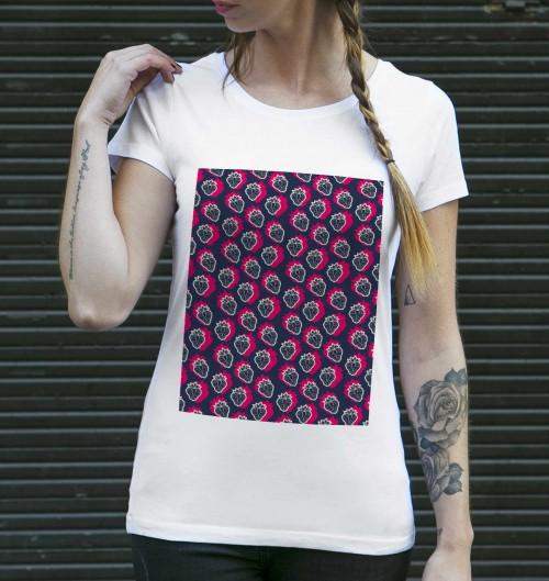 T-shirt pour Femme Femme Fraises Electriques de couleur Blanc