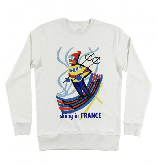Sweat pour Homme Skiing in France de couleur Beige chiné