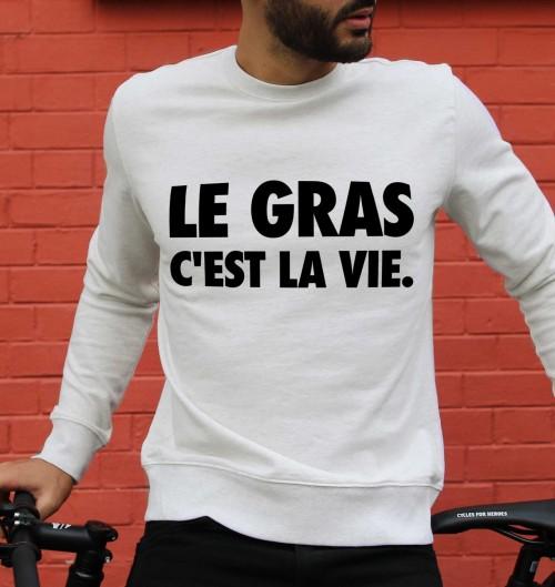 Sweat pour Homme Le Gras C'est la Vie de couleur Beige chiné