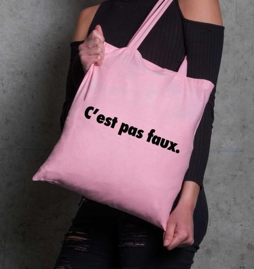 Tote Bag C'est Pas Faux de couleur Rose