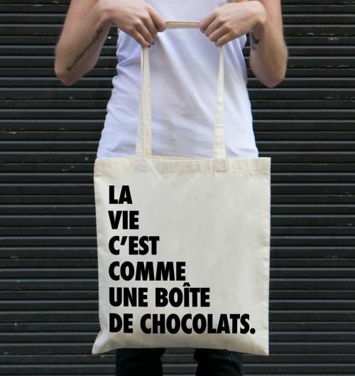 Tote Bag Forrest Gump Chocolat de couleur Crème