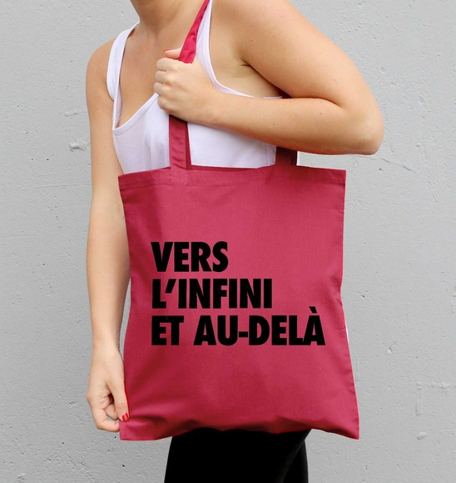 Tote Bag Vers L'infini et Au-delà de couleur Cranberry