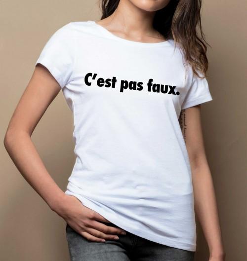 T-shirt pour Femme Femme C'est Pas Faux de couleur Blanc