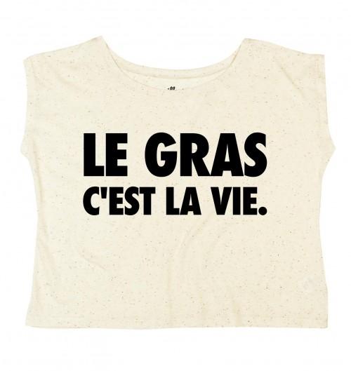 T-shirt pour Femme Oversize Le Gras C'est La Vie de couleur Gris chiné