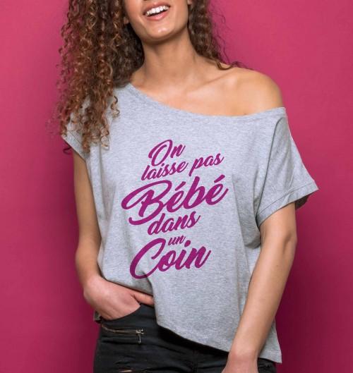 T-shirt pour Femme Loose On Laisse Pas Bébé de couleur Gris chiné