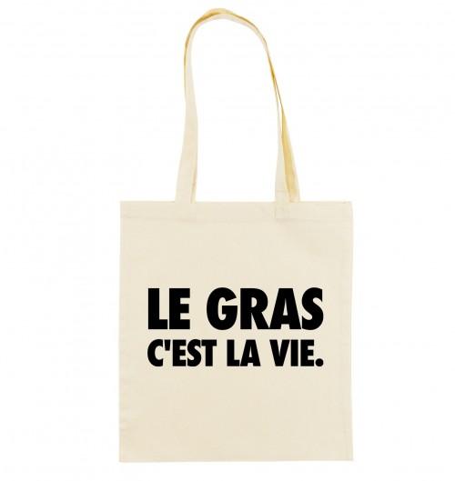 Tote Bag Le Gras C'est La Vie de couleur Crème