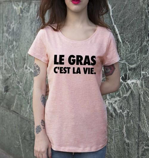 T-shirt pour Femme Femme Le Gras de couleur Rose chiné