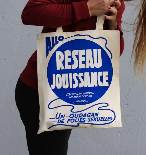 Tote Bag Réseau Jouissance de couleur Crème