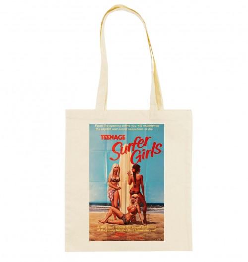 Tote Bag Teenage Surfer Girls de couleur Crème