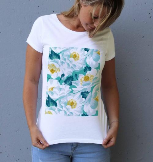 T-shirt pour Femme Femme Lys Blanc de couleur Blanc