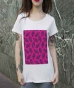 T-shirt à col rond Femme Plumes Roses