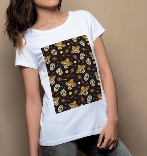 T-shirt pour Femme Femme Têtes de Mort Mexicaines de couleur Blanc