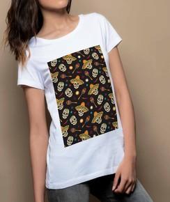 T-shirt à col rond Femme Têtes de Mort Mexicaines