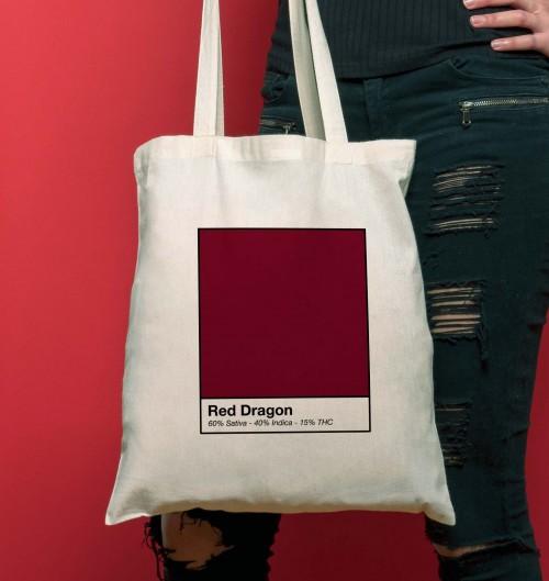Tote Bag Red Dragon de couleur Crème