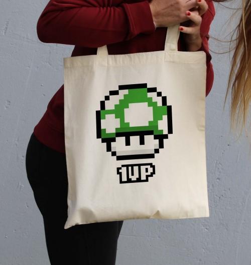 Tote Bag Pixel 1UP de couleur Crème