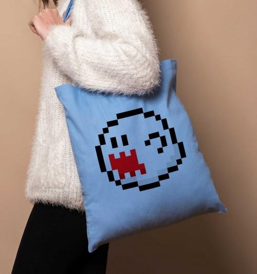 Tote Bag Pixel Boo de couleur Bleu clair
