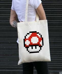 Tote Bag Pixel Champignon