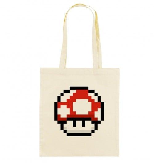 Tote Bag Pixel Champignon de couleur Crème