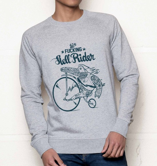 Sweat pour Homme Hell Rider de couleur Gris chiné