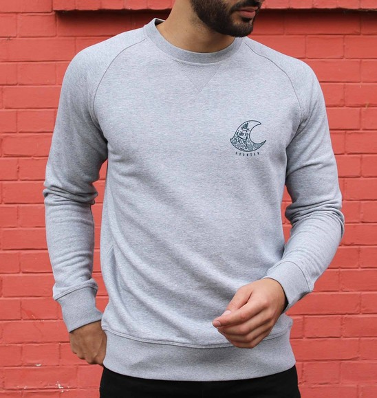 Sweat pour Homme All I Do Is Surf de couleur Gris chiné
