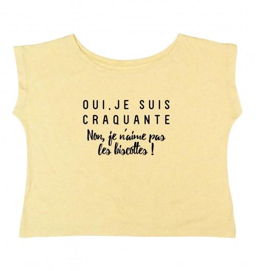 T-shirt pour Femme Loose Je Suis Craquante de couleur Gris chiné
