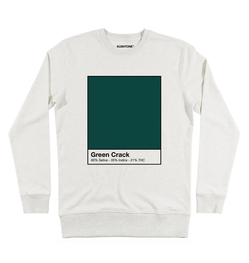 Sweat pour Homme Green Crack de couleur Beige chiné