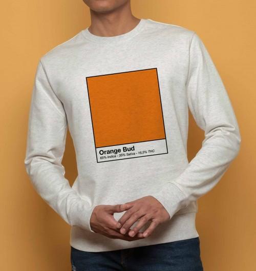 Sweat pour Homme Orange Bud de couleur Beige chiné
