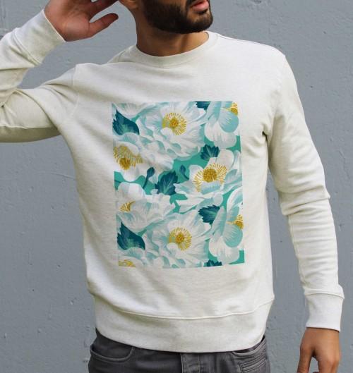 Sweat pour Homme Fleurs Blanches de couleur Beige chiné