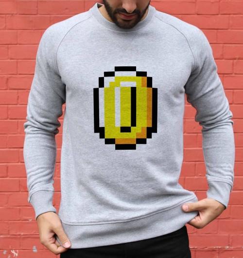 Sweat pour Homme Pixel Coin de couleur Gris chiné