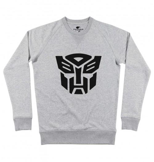 Sweat pour Homme Optimus Prime de couleur Gris chiné