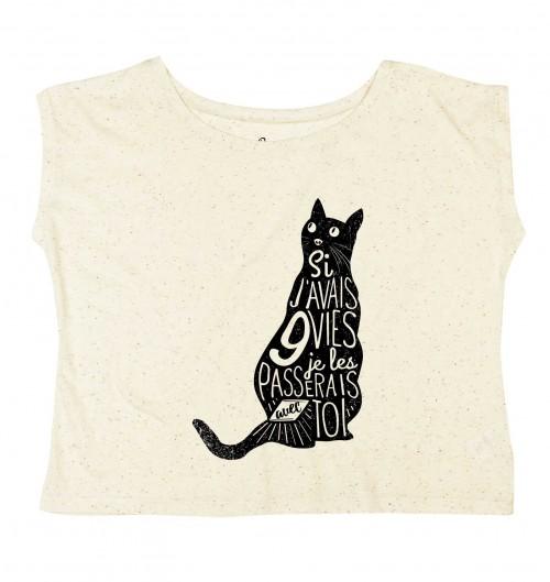 T-shirt pour Femme Loose 9 Vies de couleur Gris chiné