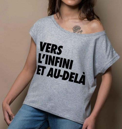 T-shirt pour Femme Loose Vers l'Infini et Au-delà de couleur Gris chiné
