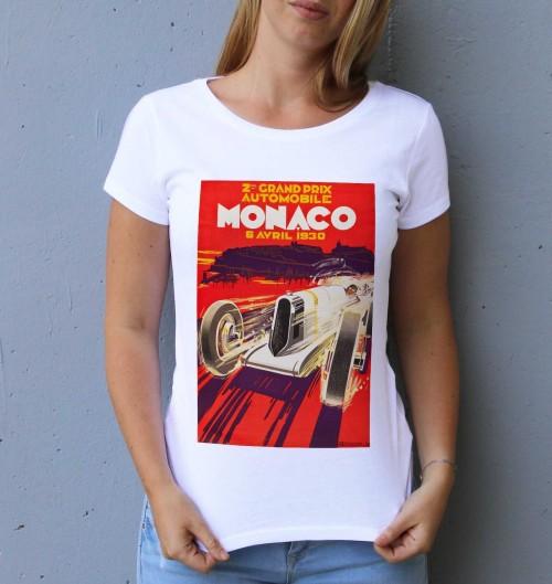 T-shirt pour Femme Femme Monaco GP 1930 de couleur Blanc