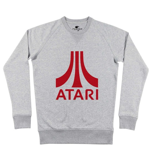 Sweat pour Homme Atari Logo Rouge de couleur Gris chiné