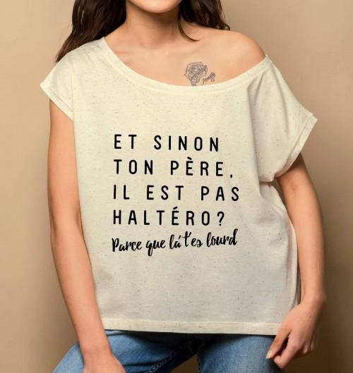 T-shirt pour Femme Loose T'es Lourd de couleur Gris chiné